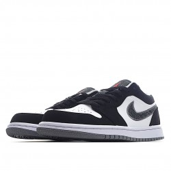 Air Jordan 1 Low Black White Wolf Grey Infrared 23 553558-029 Women Men AJ1 Shoes