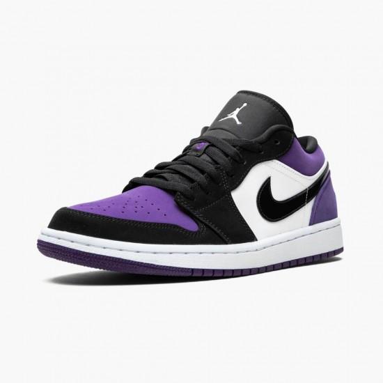 "Air Jordan 1 Low ""Court Purple"" Unisex Basketball Shoes 553558 125 White/Black-Court Purple AJ1 Jordan Sneakers"