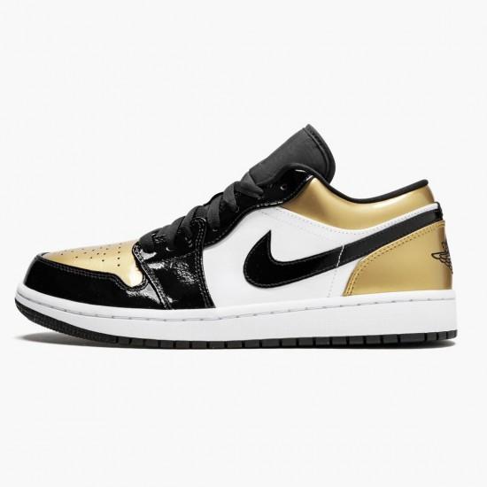 "Air Jordan 1 Low ""Gold Toe"" Unisex Basketball Shoes CQ9447 700 Black/Gold-Black AJ1 Jordan Sneakers"