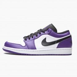 "Air Jordan 1 Retro Low ""Court Purple"" Unisex Basketball Shoes 553558 500 Court Purple/Black-White AJ1 Jordan Sneakers"