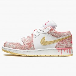 "Air Jordan 1 Low SE GS ""Paint Drip"" Arctic Punch CW7104 601 Womens AJ1 Jordan Sneakers"