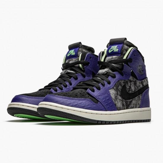 "Air Jordan 1 High Zoom ""Air CMFT Bayou Boys"" DC2133-500 Court Purple/Black-Electric Green Unisex Jordan Sneakers"