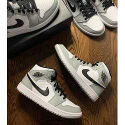 "Air Jordan 1 Mid ""Light Smoke Grey"" Light Smoke Grey/Black-White 554724 092 Mens/Womens AJ1 Jordan Sneakers"