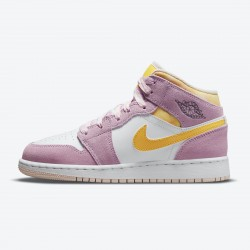 "Air Jordan 1 Mid SE GS ""Arctic Pink"" DC9517 600 Light Arctic Pink University Gold-White WMNS Jordan Sneakers"