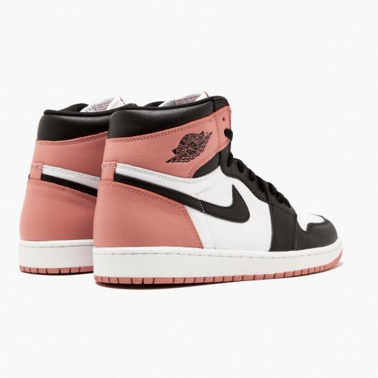 "Air Jordan 1 Retro High ""Rust Pink"" Unisex Basketball Shoes White/Black-Rust Pink 861428 101 AJ1 Jordan Sneakers"