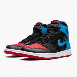 "Nike Air Jordan 1 High OG ""UNC To Chicago"" Black/Dark Powder Blue/Gym Red Basketball Shoes CD0461 046 AJ1 Sneakers"