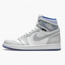 "Nike Air Jordan 1 High Zoom ""Racer Blue"" White/White-Racer Blue Basketball Shoes AJ1 CK6637 104 Sneakers"
