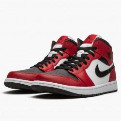 "Nike Air Jordan 1 Mid ""Chicago Black Toe"" Black/Gym Red-White Basketball Shoes 554724 069 AF1 Sneakers"