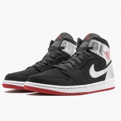 "Nike Air Jordan 1 Mid ""Johnny Kilroy"" Black/Gym Red-Metallic Silver Sneakers 554724 057 AJ1 Basketball Shoes"
