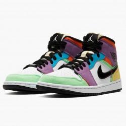 "Nike Air Jordan 1 Mid SE ""Multicolor"" White/Black/Lightbulb/Team Ora Basketball Shoes CW1140 100 AJ1 Sneakers"