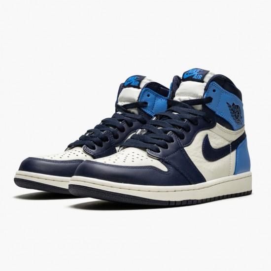 "Nike Air Jordan 1 Retro High OG ""Obsidian/University Blue"" Basketball Shoes 555088 140 AJ1 Sneakers"