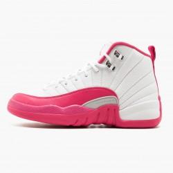 "Air Jordan 12 Retro ""Dynamic Pink"" Womens AJ12 Basketball Shoes 510815 109 White/Vivid Pink-Mtllc Silver Jordan Sneakers"