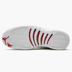 "Air Jordan 12 Retro ""FIBA"" Unisex AJ12 Basketball Shoes 130690 107 White/University Red/Metallic Jordan Sneakers"