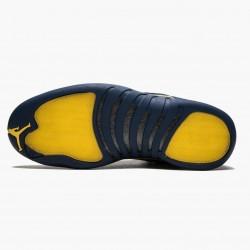 """Air Jordan 12 Retro """"Michigan"""" Mens AJ12 Basketball Shoes BQ3180 407 College Navy/Amarillo Jordan Sneakers"""