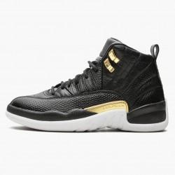 "Air Jordan 12 Retro ""Reptile"" Unisex AJ12 Basketball Shoes AO6068 007 Black/Metallic-Gold White Jordan Sneakers"