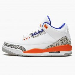 "Air Jordan 3 Retro ""Knicks"" Unisex Basketball Shoes 136064 148 White/Old Royal University Ora AJ3 Jordan Sneakers"