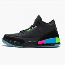 """Air Jordan 3 Retro """"Quai54"""" Unisex Basketball Shoes AT9195 001 Black/Black-Electric Green AJ3 Jordan Sneakers"""