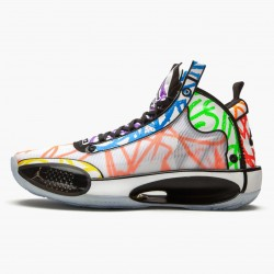 "Air Jordan XXXIV ""Zion Williamson Coloring Book"" Mens AJ34 Basketball Shoes DA1897 100 White/Black-Multi-Color Jordan Sneakers"