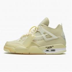 "Air Jordan 4 Retro Off-White ""Sail"" Unisex Jordan Sneakers Sail/Muslin-White-Black Basektball Shoes CV9388 100"