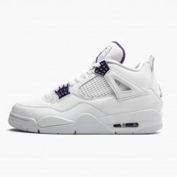 "Air Jordan 4 Retro ""Purple Metallic"" Unisex Jordan Sneakers White/Metallic Silver-Court Pu Basektball Shoes CT8527 115"