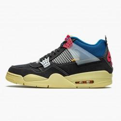 "Air Jordan 4 Retro ""Union Off Noir"" Unisex Basketball Shoes DC9533 001 Off Noir/Brigade Blue-Dark Smo AJ4 Jordan Sneakers"
