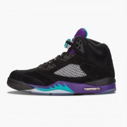 "Air Jordan 5 Retro ""Black Grape"" Unisex Basketball Shoes Black/New Emerald-Grape Ice 136027 007 AJ5 Jordan Sneakers"
