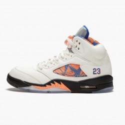 "Air Jordan 5 Retro ""International Flight"" Unisex Basketball Shoes Sail/Racer Blue-Cone-Black 136027 148 AJ5 Jordan Sneakers"