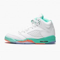 "Air Jordan 5 Retro ""Light Aqua"" Unisex Basketball Shoes White/Crimson Pulse-Light Aqua 440892 100 AJ5 Jordan Sneakers"