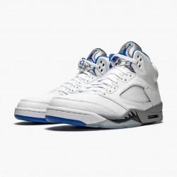 "Air Jordan 5 Retro ""White Stealth"" DD0587 140 White/Stealth-Black-Hyper Roya Mens AJ5 Jordan Sneakers"