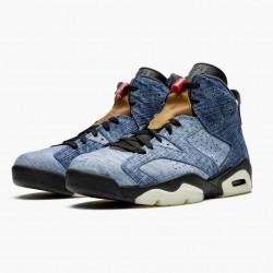 "Air Jordan 6 Retro""Washed Denim"" Unisex Basketball Shoes CT5350-401 Black-Sail/Varsity Red AJ6 Black Jordan Sneakers"