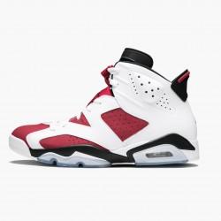 "Air Jordan Retro 6 ""Carmine"" Unisex Basketball Shoes 384664 160 White/Carmine-Black AJ6 Black Jordan Sneakers"